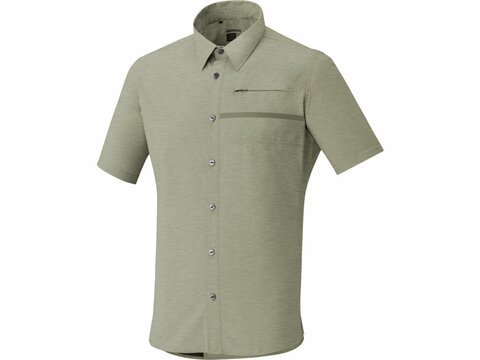 Shimano Transit Short Sleeve Check Button Up Trikot Dusky Green L