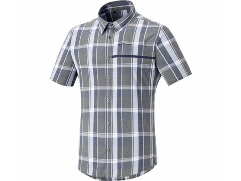 Shimano Transit Short Sleeve Check Button Up Trikot Navy Blazer L